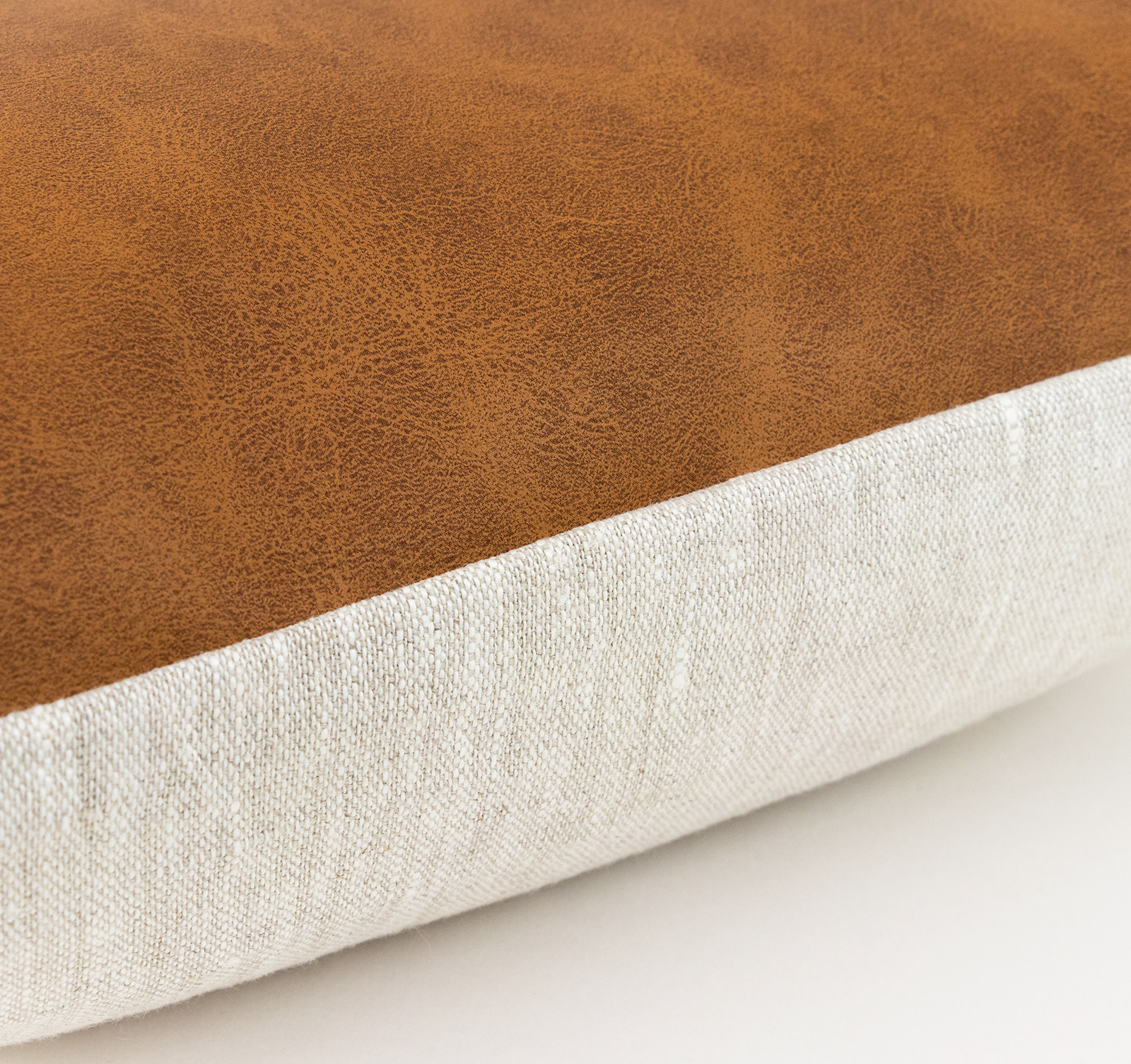 Tan Suede Pillow Brown Leather