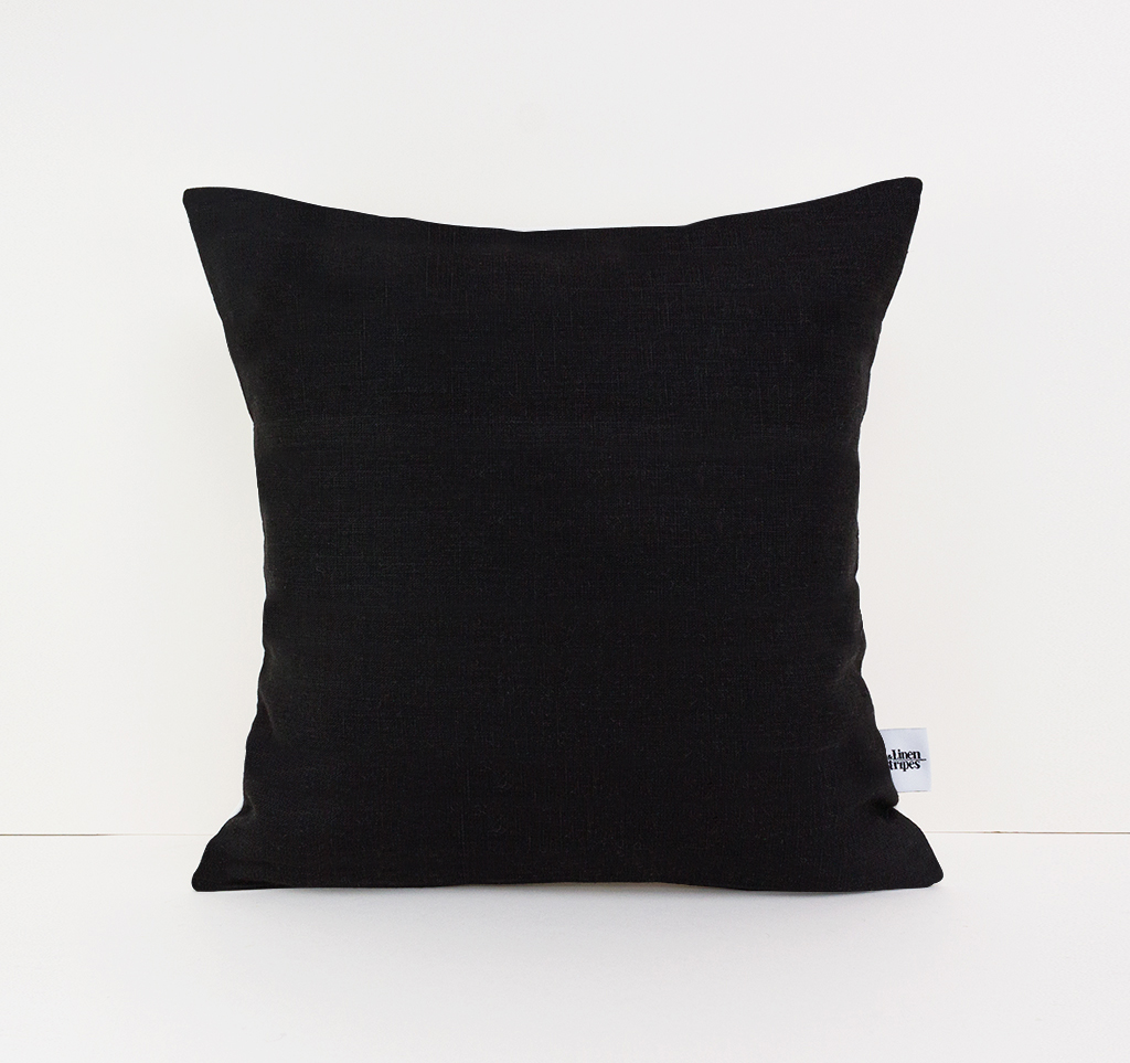 Black Linen Pillow Cover Linen And Stripes