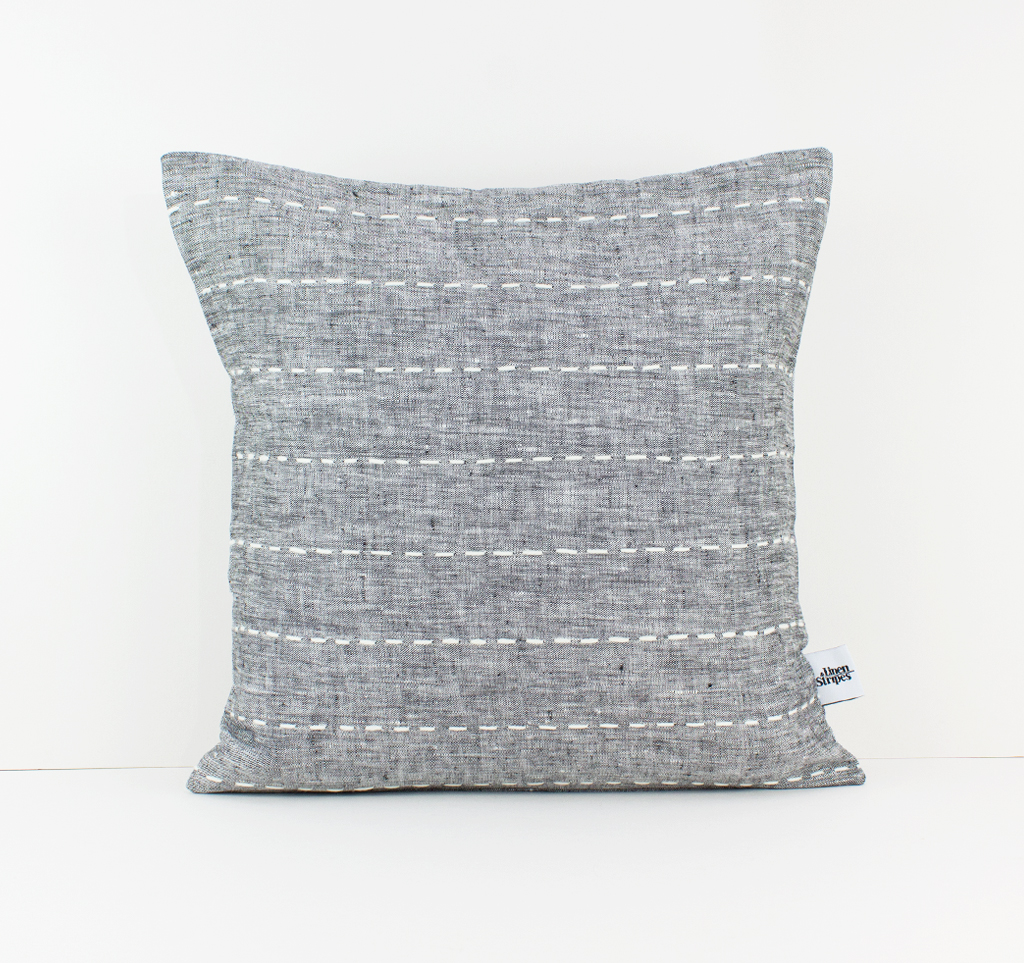 Dark Gray Striped Linen Pillow Cover