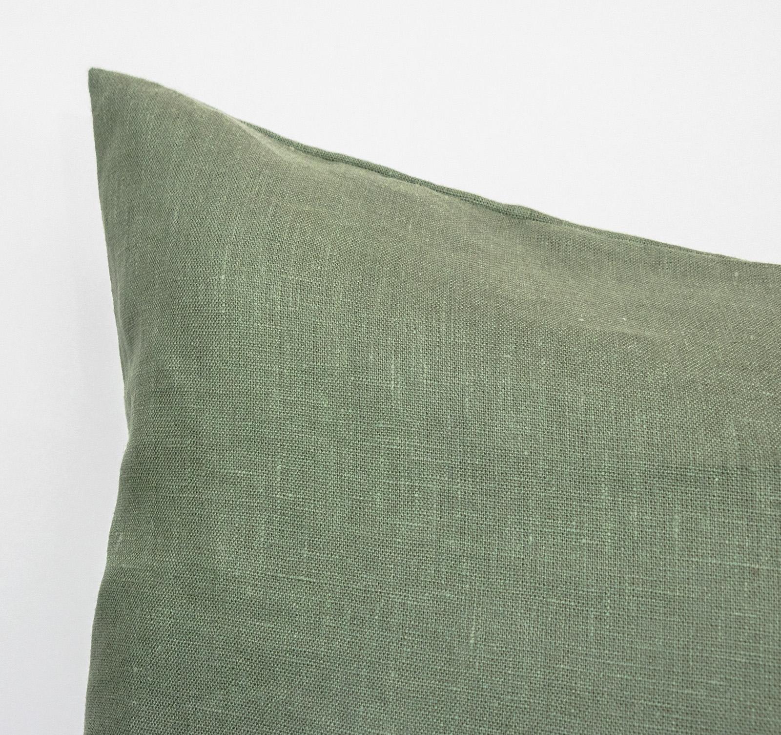 Linen Body Pillow Case Green Lumbar