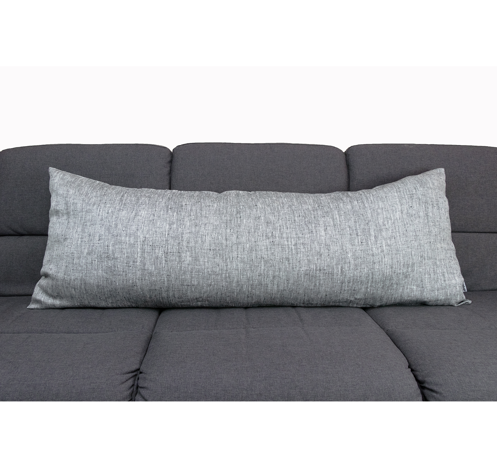 Picture of: Dark Grey Linen Body Pillow Cover Linen And Stripes