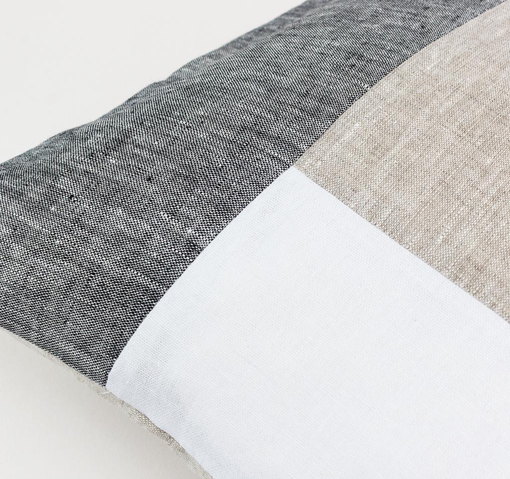 Color Block Pillow Cover Dark Grey