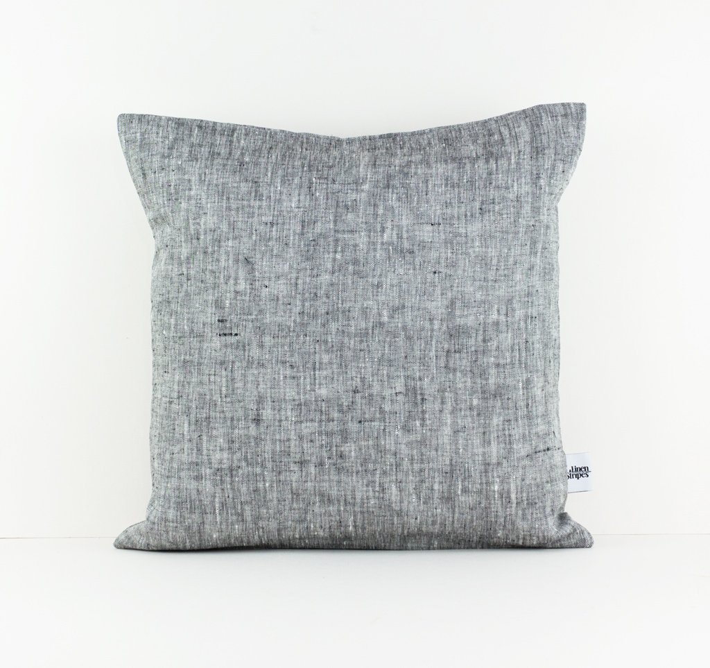 Dark Grey Linen Pillow Cover Linen And Stripes