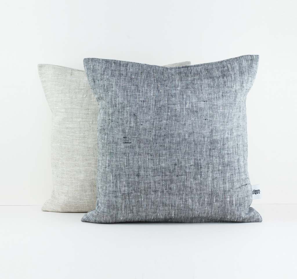 Beige And Dark Grey Linen Pillow Color Set