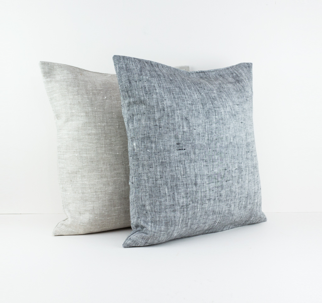 Dark grey linen pillow cover with