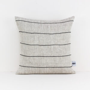 Beige Natural Linen Pillow Cover with Black Cotton Stripes