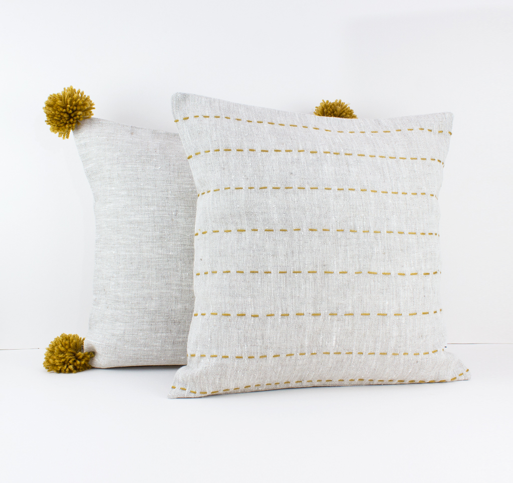 Beige Linen Pillow Cover With Mustard Pompoms Linen And Stripes