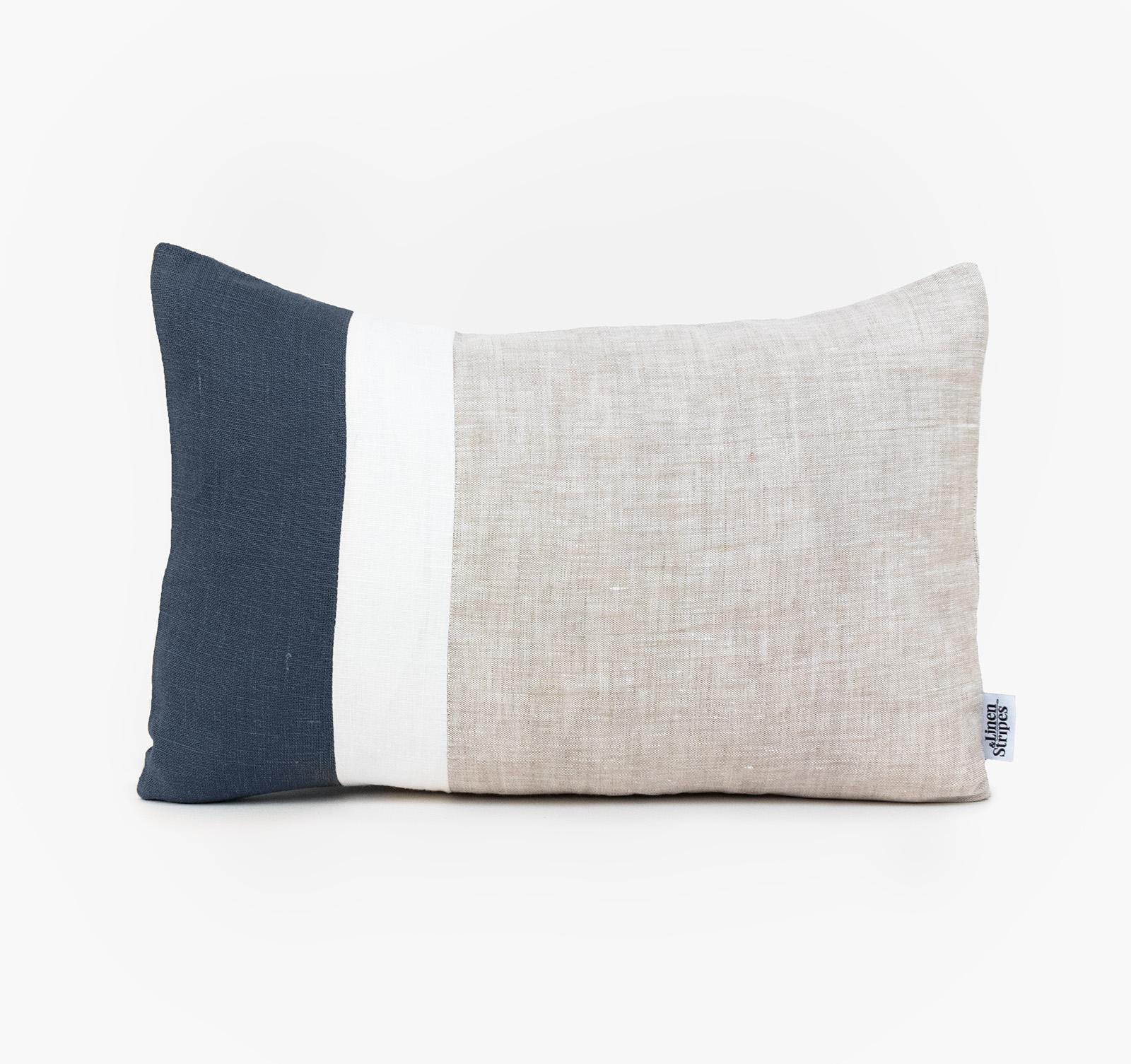 Color Block Lumbar Pillow Cover Black