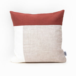Color Block Pillow Cover Rust Linen
