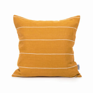 Mustard Linen Pillow Cover with White Cotton Stripes